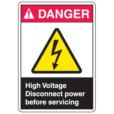 ANSI Z535 Safety Labels - Danger High Voltage
