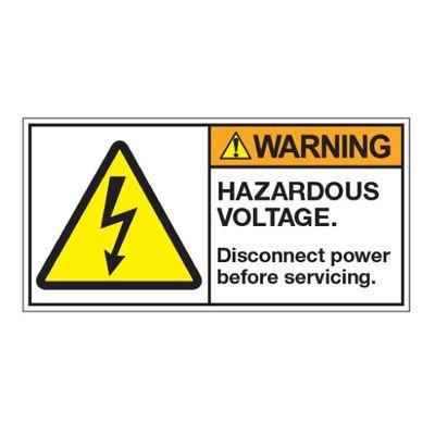 ANSI Z535 Safety Labels - Hazardous Voltage Disconnect Before Servicing