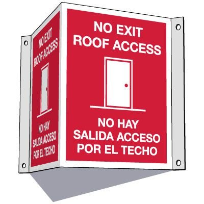 3-Way Bilingual No Exit Roof Access Sign