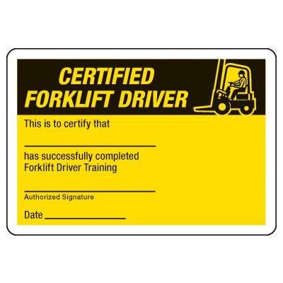 Certified Forklift Driver Wallet Card