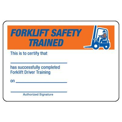 Forklift Safety Trained Certification Card - Wallet Size