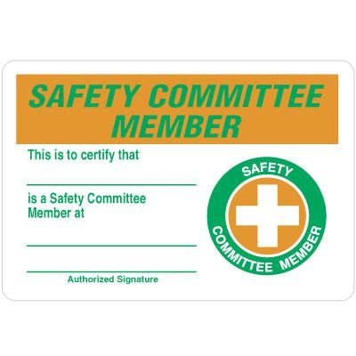 Certification Wallet Cards - Safety Committee Member