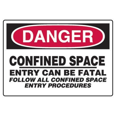 Confined Space Signs - Danger Confined Space Entry Can Be Fatal Follow All Confined Space Entry Procedures