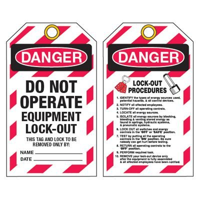 Danger Locked Out - Heavy Duty Plastic Tag Lockout Tag