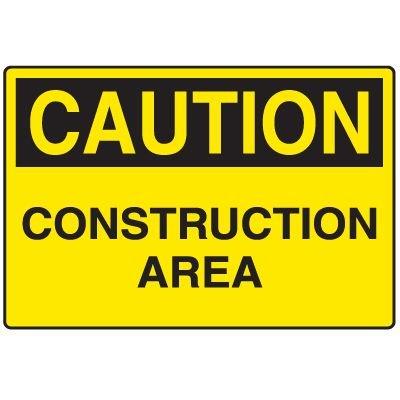 Corrugated Plastic Signs - Caution Construction Area