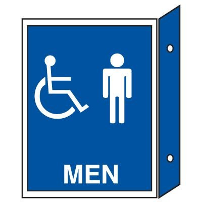 Handicap Men's Restroom Signs - Double Faced