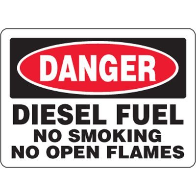 Eco-Friendly Signs - Danger Diesel Fuel No Smoking No Open Flames