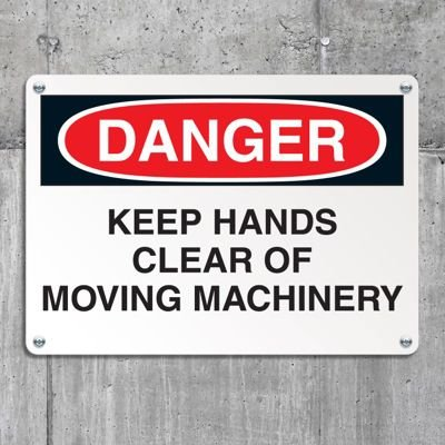 Equipment Hazard Mini Safety Signs - Danger Keep Hands Clear of Moving Machinery