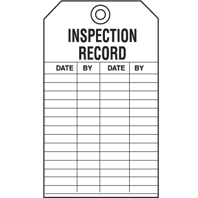 Safety Inspection Tags - Inspection Record