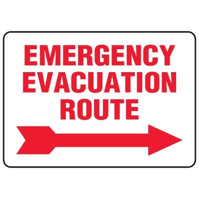 Emergency Evacuation Route Sign with Right Arrow