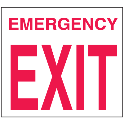 Emergency Exit Sign - Polished Plastic Sign