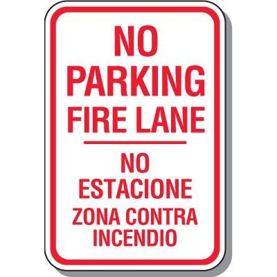 Fire Lane Signs - Bilingual No Parking Fire Lane