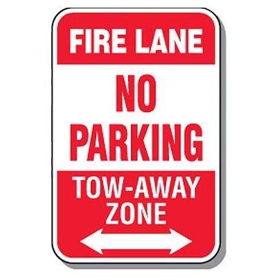 Fire Lane Signs - Fire Lane No Parking (Double Arrow)