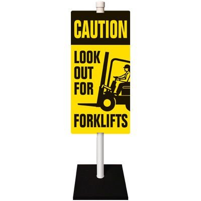 Forklift Warning Stanchion Sign System