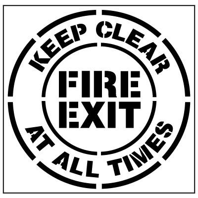 Floor Stencils - Keep Clear At All Times Fire Exit