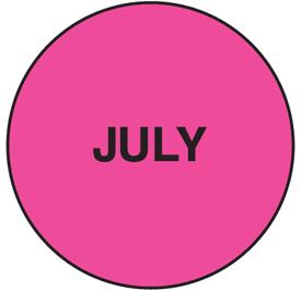 Fluorescent July Dot  Labels