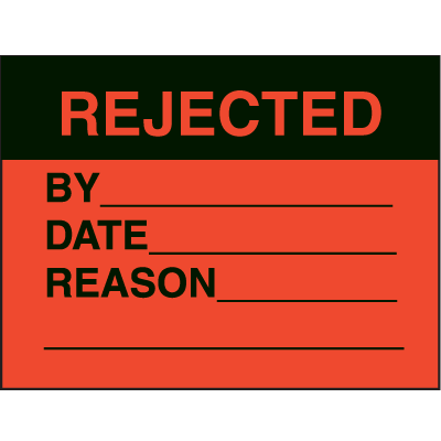 Rejected By Date Reason Fluorescent Paper Labels
