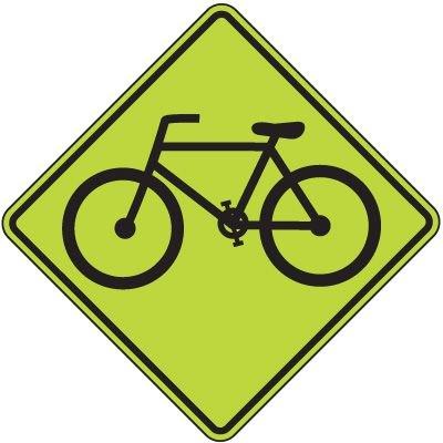 Fluorescent Pedestrian Signs - Bike (Graphic)