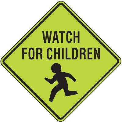Fluorescent Pedestrian Signs - Watch For Children (Graphic)