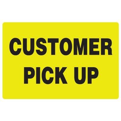Fluorescent Warehouse & Pallet Labels - Customer Pick Up