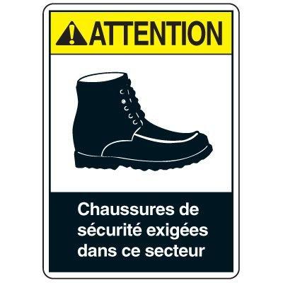 Enseignes de Sécurité - Attention Chaussures De Sécurité Exigées Dans Ce Secteur