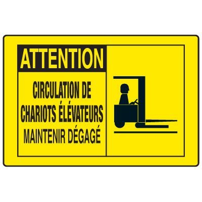 Enseignes de Sécurité - Attention Circulation De Chariots Élévateurs Maintenir Dégagé