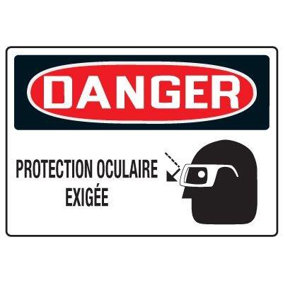 Enseignes de Sécurité - Danger Protection Oculaire Exigee