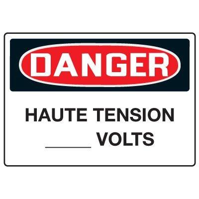 Enseignes de Sécurité - Danger Haute Tension (Vierge) Volts