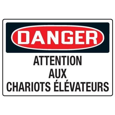 Enseignes de Sécurité - Danger Attention Aux Chariots Élévateurs