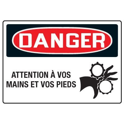 Enseignes de Sécurité - Danger Attention A Vos Mains Et Vos Pieds