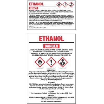 GHS Chemical Labels - Ethanol