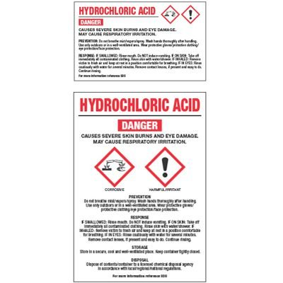 GHS Chemical Labels - Hydrochloric Acid