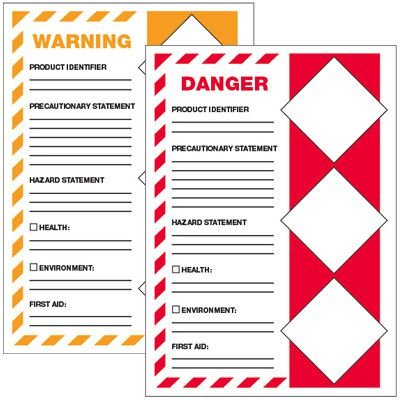 GHS Secondary Container Labels - First Aid
