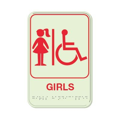 Girls (Accessibility) - Glo Brite Braille Signs
