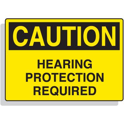 Fiberglass OSHA Sign - Caution - Hearing Protection Required