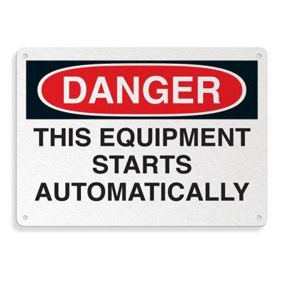 Fiberglass OSHA Sign - Danger - Equipment Starts Automatically
