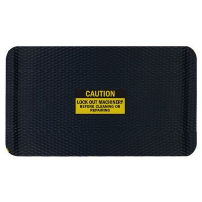 Hog Heaven Safety Message Anti-Fatigue Mats - Caution Lock Out Machinery