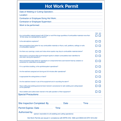 Hot Work Permit Pad