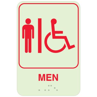 Mens Restroom Signs - Braille Glow-In-Dark Signs