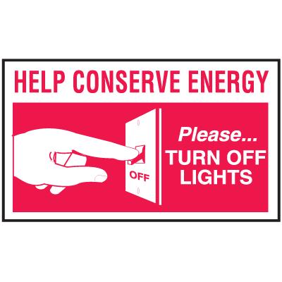 Instructional Labels - Turn Off Lights Label