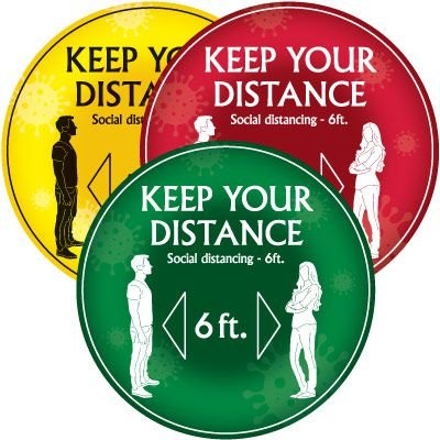 Temporary Floor Markers - Keep Your Distance 6Ft