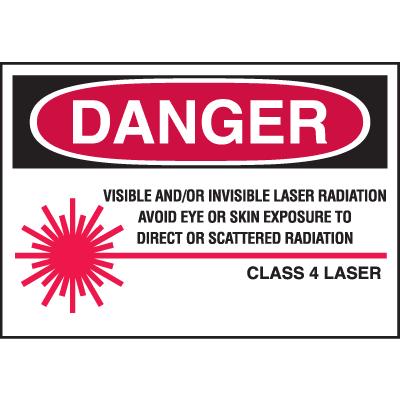 Laser Equipment Warning Labels - Danger Class 4 Laser