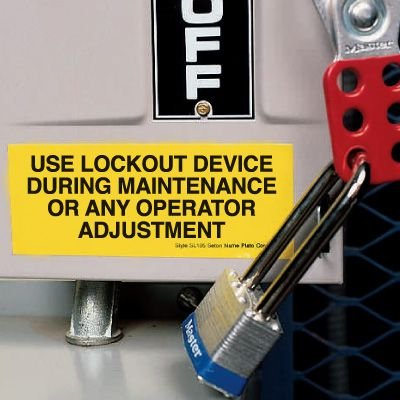 Lockout Labels - Use Lockout Device During Maintenance Or Any Operator Adjustment