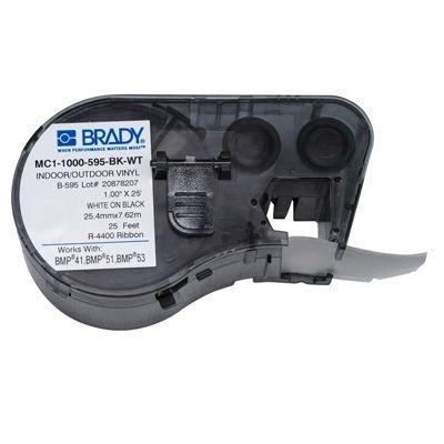Brady MC1-1000-595-BK-WT BMP51/BMP41 Label Cartridge - White on Black