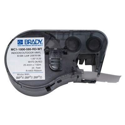 Brady MC1-1000-595-RD-WT BMP51/BMP41 Label Cartridge - White on Red