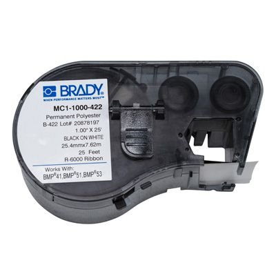 Brady MC1-1000-422 BMP51/BMP41 Label Cartridge - Black On White