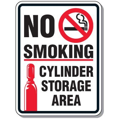 No Smoking Cylinder Storage Area Sign