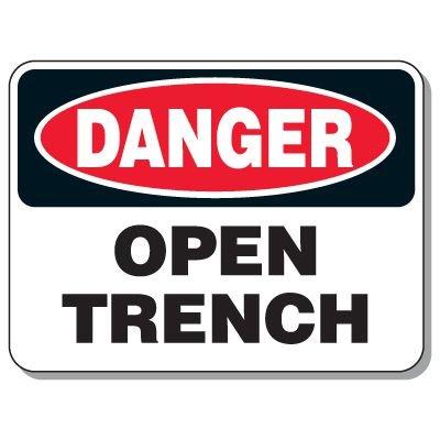 Giant Hazardous Work Zone Signs - Danger Open Trench