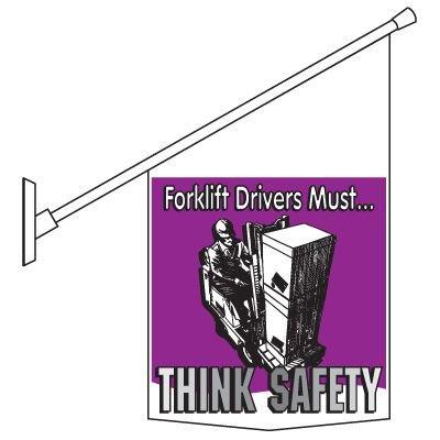 Forklift Drivers Think Safely Pole Banner