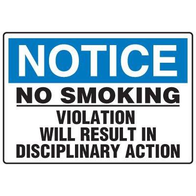 No Smoking Signs - Notice No Smoking Violation Will Result